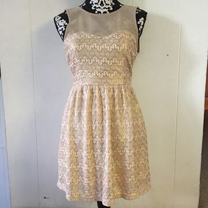 gold and cream/pink formal dress